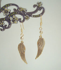 Antique-Golden-Guardian-Angel-Wing-Dangly-Earrings