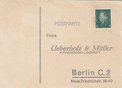 Ueberholz & Müller Ag Verbraucher Zuerst Berlin Postkarte 1924