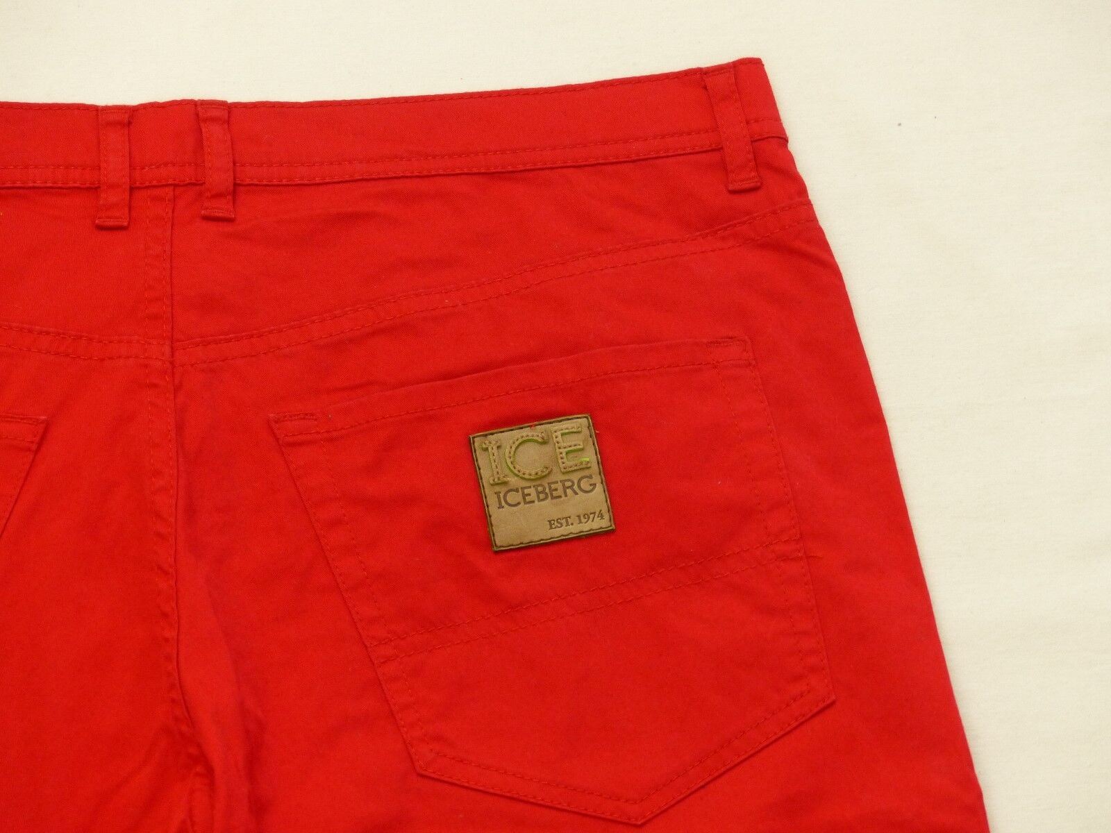 Iceberg Casual Summer Trousers Ice Style Denim Retro Red Hipstar Size 33