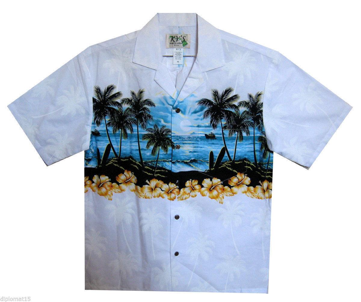 Ky 'S ORIGINALE Camicia Hawaii Spiaggia Blu Bianco