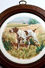 Vintage Framed Wall Plaque Decorative Plate Hunting Dog