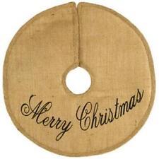 "Primitive new 24"" burlap tree skirt / MERRY CHRISTMAS / nice"