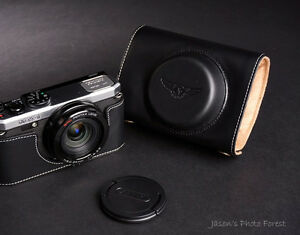 Genuine real Leather Half Camera Case Camera bag cover for Pentax MX-1 MX1 brown