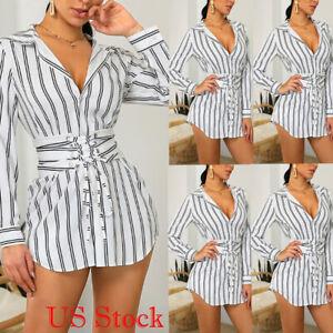 1ddfcf57db3 Women s Stripe Jeans Denim T-Shirt Long Sleeve Casual Loose Shirt ...