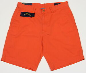 "Polo Ralph Lauren Men's Chino Shorts Poppy Orange Stretch Classic Fit 9"""