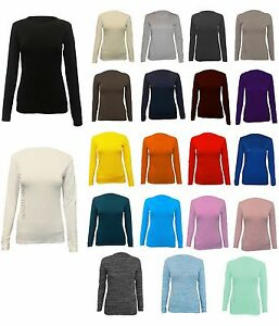Womens-Long-Sleeve-Stretch-Plain-Round-Scoop-Neck-T-Shirt-Top