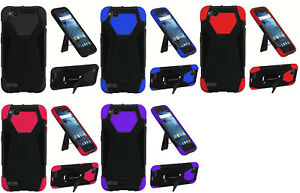 new style 1ecf0 dfda2 Details about T-Stand Hybrid Case Phone Cover for ZTE ZFive G C Z557BL  Z558VL