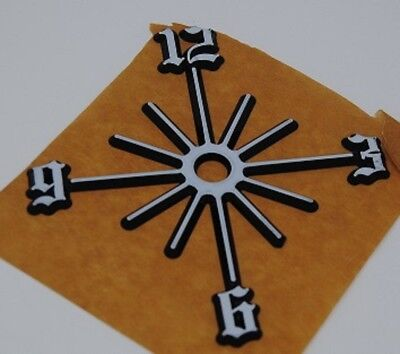 "3/"" Gold w// Red Glitter Daisy on Black Self Adh Plastic Clock Number Starburst"