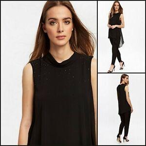 Wallis Overall Größe 10 | schwarz verziert Overlay Style | OVP | 60 £ UVP | NEU