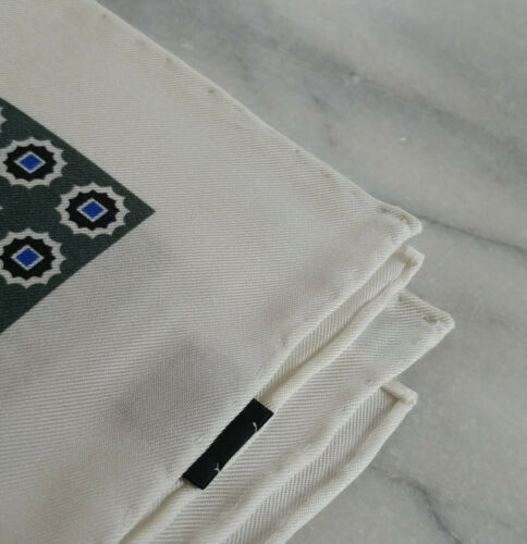 Black and Navy Geometric Design Hand Rolled Silk Ivory Pocket Square with Green