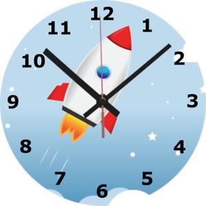 Horloge murale fusée 25 cm star space science Kid Enfants Chambre À Coucher Décoration Maison 963
