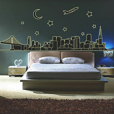 Moon Stars Buildings Luminous Removable Wall Stickers Decal Home Decro