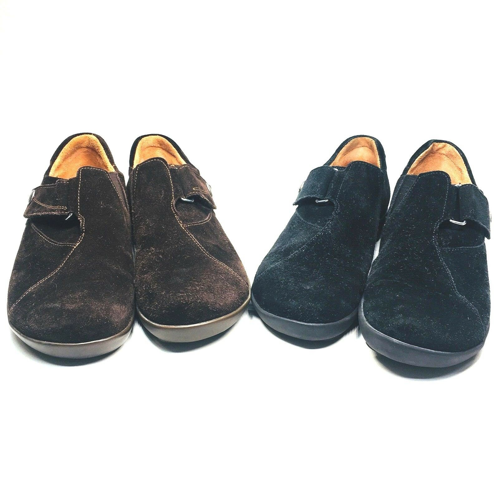 Think  Lot of 2 Women's 36 Black   Brown Suede Slip on shoes 5.5-6 M Hook & Loop