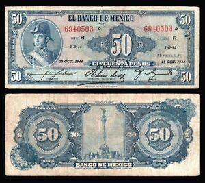 Mexico-50-Pesos-Allende-23-OCT-1944-Series-R-P-49g-Fine-6940503