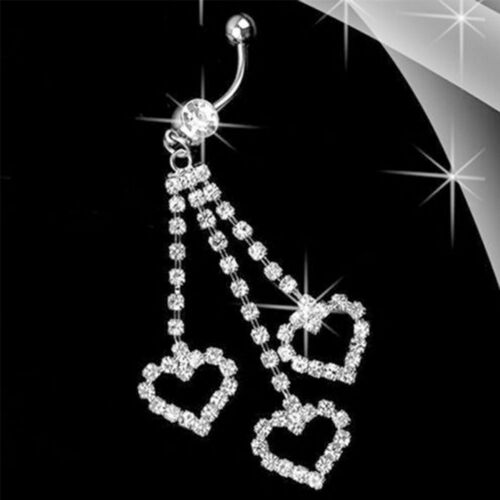 Heart Dangle Rhinestone Barbell Belly Navel Ring Body Piercing Jewelry Women Hot