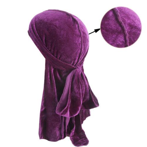 Unisex Men Women Velvet Breathable Bandana Hat Turban Cap Doo Durag Headwear