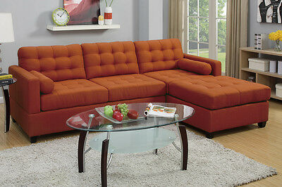 Sectional Classic Modern Polyfiber 2 Seat Sofa Reversible Chaise Canyon  Color