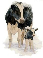 CATTLE:COW & CALF (Black & White) in SNOW-ONE 16 inch square Fabric Panel to Sew