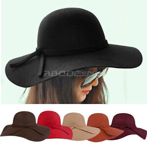 Retro-Ladies-Women-Wool-Felt-Fedora-Floppy-Cloche-Wide-Brim-Bowknot-Hat-Cap