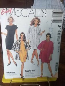 Oop-Mccalls-Easy-6446-misses-fitted-dress-loose-shirt-jacketsz-10-14-NEW