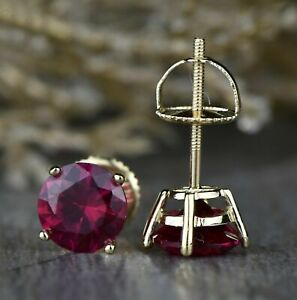 1-00-Ct-Round-Ruby-Solitaire-4-Prong-Stud-Earrings-Women-039-s-14k-Yellow-Gold-Over