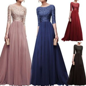Women-Fashion-Long-Chiffon-Lace-Evening-Formal-Party-Gown-Prom-Bridesmaid-Dress