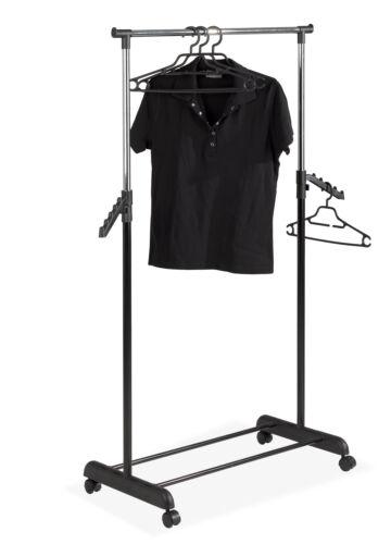 höhenverstellbar Rollgarderobe chromfarbig Garderobenwagen schwarz