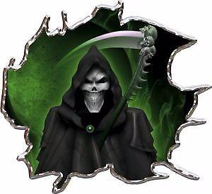 Grim reaper green race car go kart vinyl graphic decal