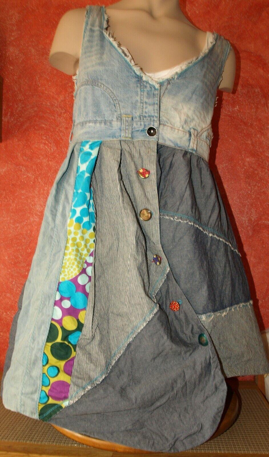 DESIGUAL M 36 38 Auffälliges Jeanskleid Tunika Trägerrock Boho Hippie Patchwork