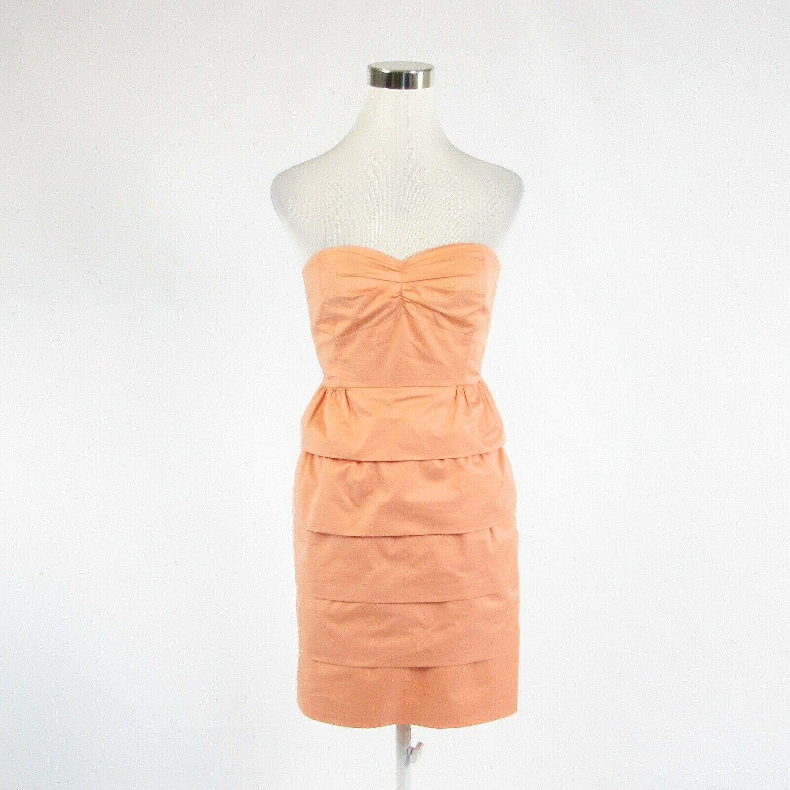 Peach 100% cotton J. CREW strapless tiered dress 0