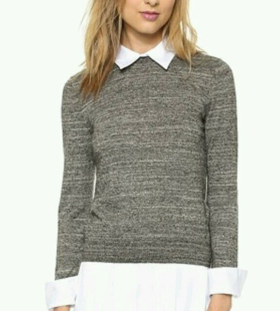 Alice + Olivia Fitted Collar Sweater Wool  Shirt Knit Top Size XS