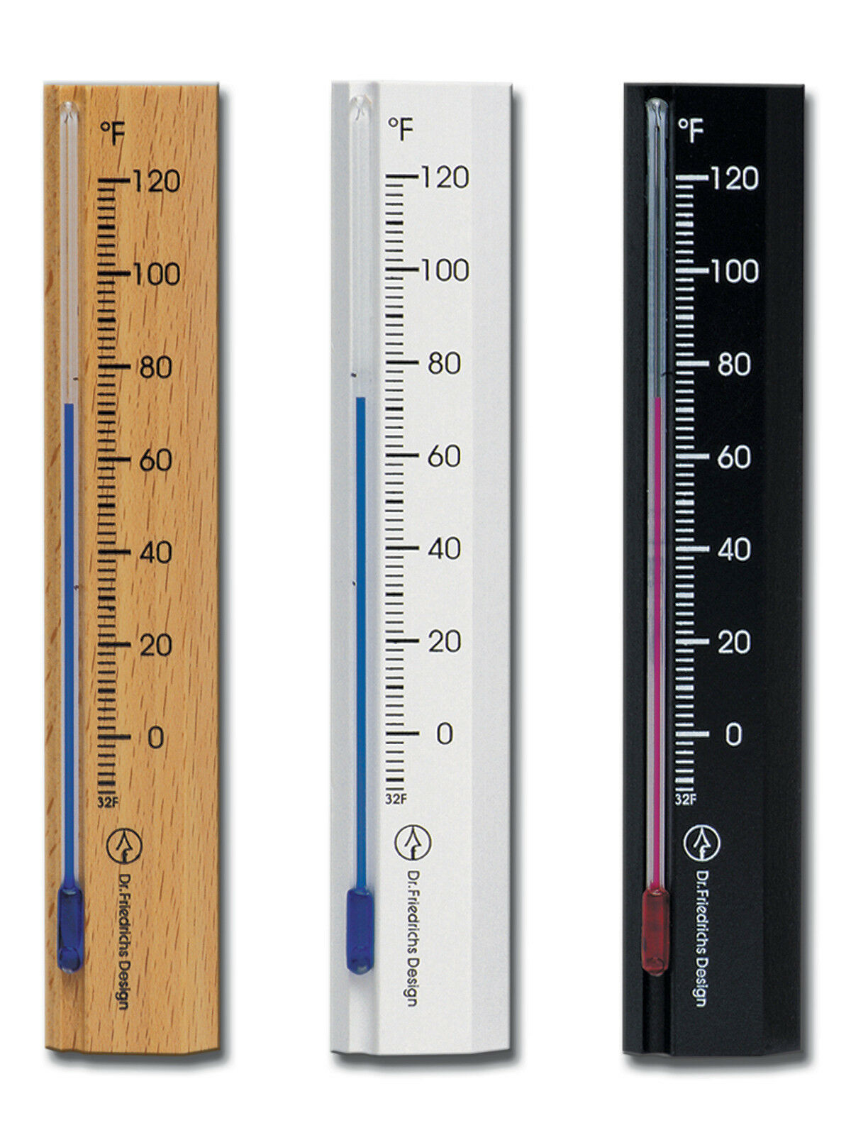 Analog Wall Thermometer Beech Wood Black, White or Natural Finish 6.0 inch tall