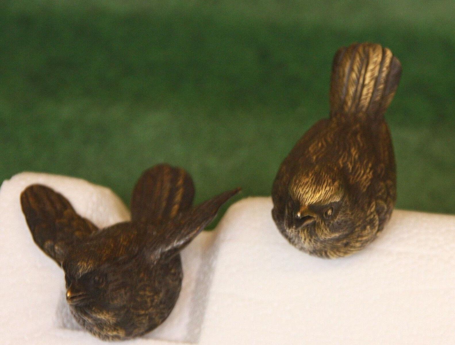 Due Uccelli Bronzo come Coppia Statue Figura Animaleen Nuovo Resistente Al Gelo