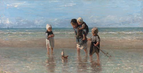 Children and the Sea JOZEF ISRAELS ART CANVAS print seaside ocean beach