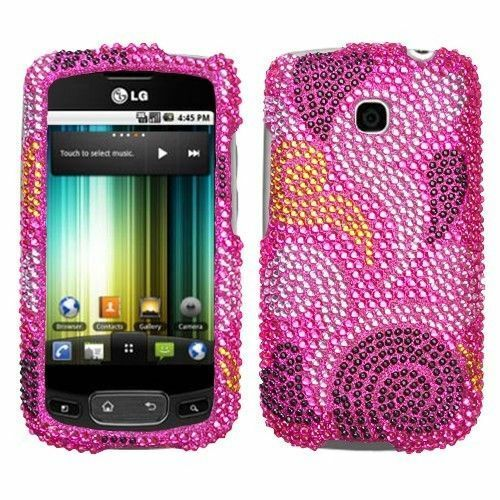 For LG Thrive Bling Diamond Hard Case Snap on Phone Cover Spiral Hearts