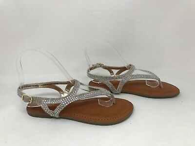 New Girl/'s Youth Candies Maysie Rhinestone Thong Dress Sandal Shoe Silver 57B