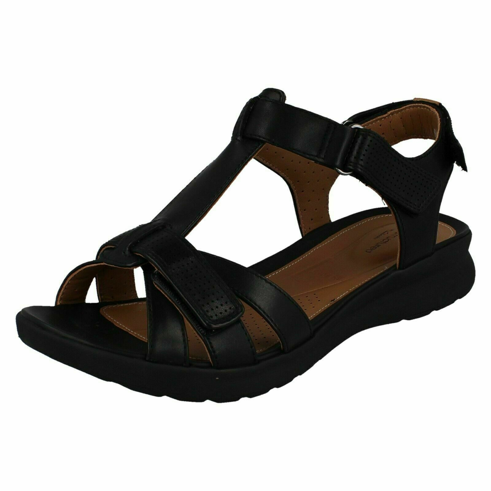 Clarks Womens Un Adorn Vibe Black Leather Touch Fasten T Bar Ankle Strap Sandals
