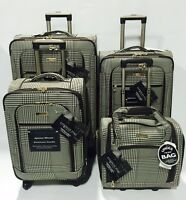 London Fog Sheffield 4pc Light Luggage Set Expandable Brown Houndstooth