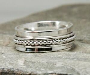 Solid-925-Sterling-Silver-Spinner-Ring-Meditation-Statement-Ring-Size-sr-24491