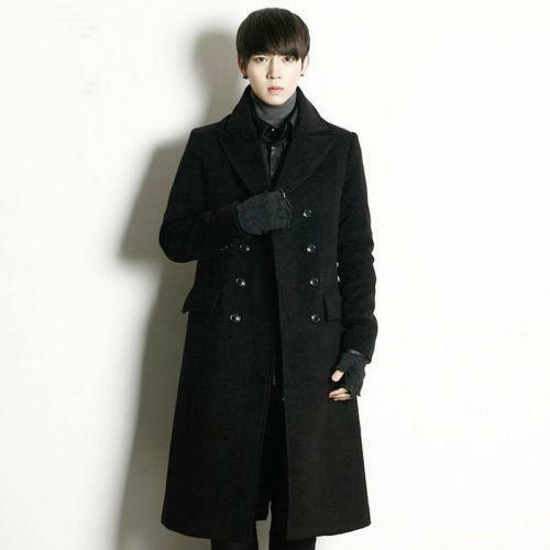 Uomo's military trench wool blend coat double breasted overcoat knee length coat blend HOT 3b55a8
