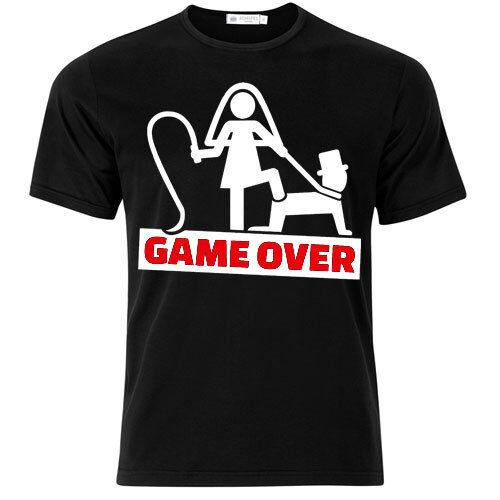 T-shirt uomo Game Over nera addio al celibato divertente sposo amici festa