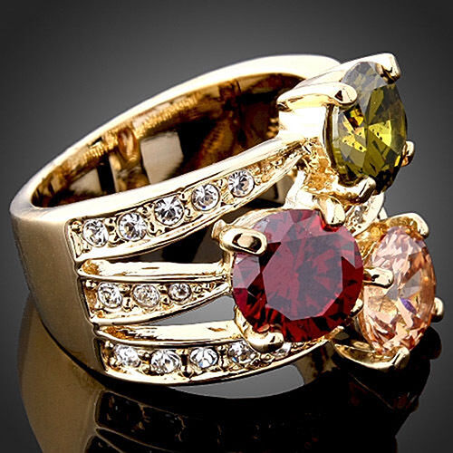 Enticing Decent Women Cocktail Luxury Cubic Zirconia Crystal 9K Gold Plated Ring