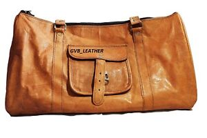 """24/"""" Men/'s Triangle Vintage Genuine Leather large Travel Luggage Duffle Gym Bags"""