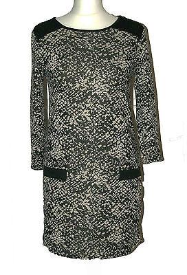 Ex Ladies Size 10-22 Zig Zag Print Black Beige Grey Tunic Shift Body Dress