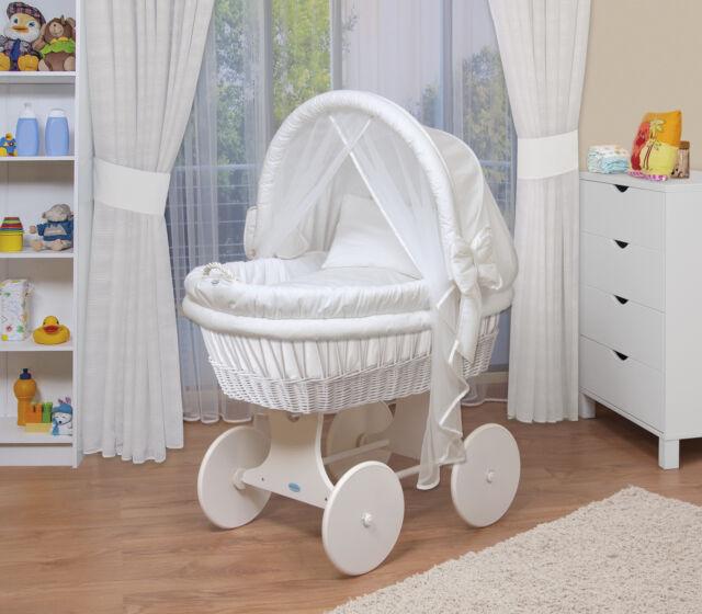 WALDIN Baby Bollerwagen Stubenwagen Komplett Mit Zubehor XXL Stoffe Weiss