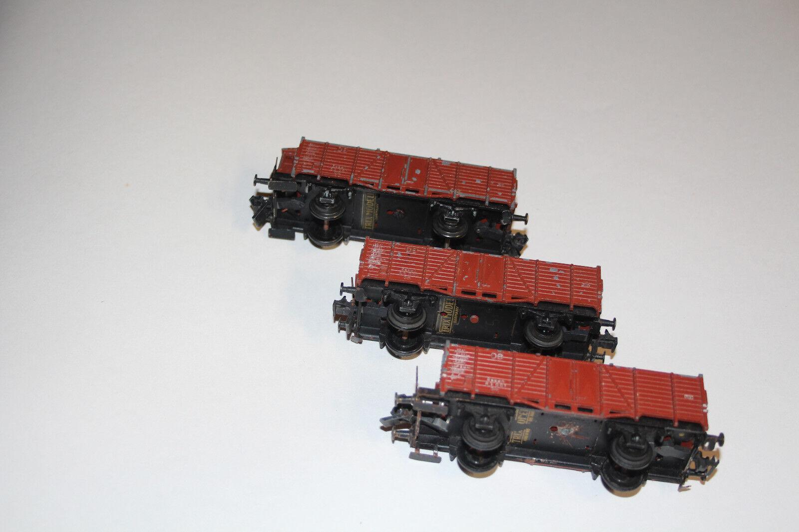 Trix Express H0 414 416 Cast 3x Open Goods Wagon Db Essen 63001 Om (2231-060)