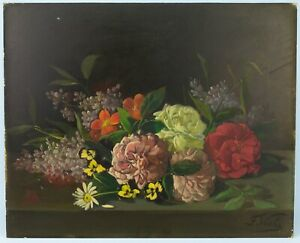 Antique-Still-Life-Painting-Oil-on-Panel-19th-C-E-Viola-Flowers-Peonies-Picture