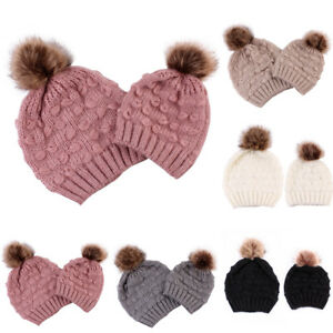 122897e6d HK- Warm Knitted Beanie Hat Elastic Adult Child Matching Pompom ...