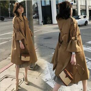 Trench coat 3 Sleeves Outwear Chic allentato Double Womens 4 Sea1 Breast Bell Ftx0fxq8w