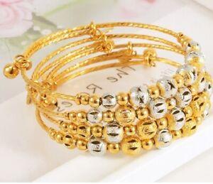 18k-Yellow-Gold-Women-039-s-7-034-Opening-Adjustable-Bracelet-Bangle-w-Gift-Pkg-D734